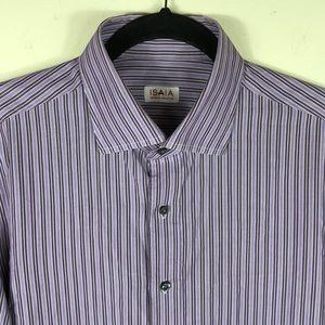 Isaia Napoli Purple Striped Dress Shirt 16.5 Italy